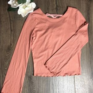 New Blush Peach Lace Up Back American Rag
